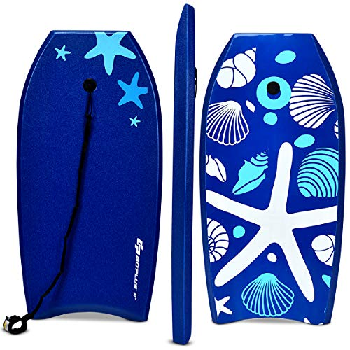 Goplus Super Bodyboard Body Board EPS Core, IXPE Deck, HDPE Slick Bottom with Leash (Blue Starfish, 33-inch)