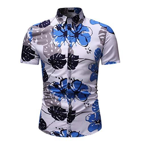 YOcheerful Men's Summer Tops Leisure Printing Short-Sleeved Shirts Button Down Tops Hawaiian Loose Blouses(White, XL)