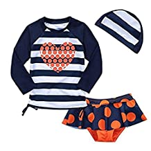 Baby Girls Kids Toddler 2 Pcs Long Sleeve Swimsuit With Caps Rash Guard UPF 50+ UV
