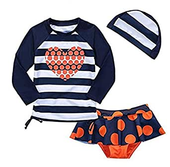 Baby Girls Kids Toddler 2 Pcs Long Sleeve Swimsuit With Caps Rash Guard UPF 50+ UV (1-2 Years, As picture Show)