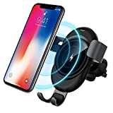 Wireless Car Charger Mount, ESYB Gravity Wireless Charging Auto-Clamping Car Mount Air Vent Phone Holder QI 10W Fast Charge for Samsung Galaxy S9 9plus, S8 8plus, iPhone X 8 Plus(DeepGray)