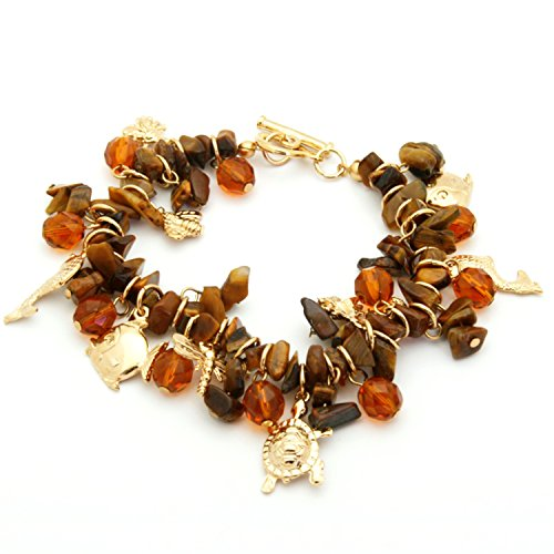 - Stones Venezuela Imita Charm SEMI Precious Orange Bracelet with Animal Gold Plated for Women
