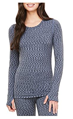 Cuddl Duds Womens' Active Tech Long Sleeve Crew Shirt With Thumbholes