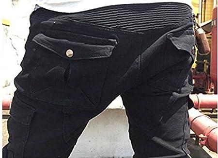 Alpha Rider Hommes Moto Pantalon d/Équitation Motocross Denim Jeans avec Prot/éger Pads /Équipement Racing Knight Pantalon Noir