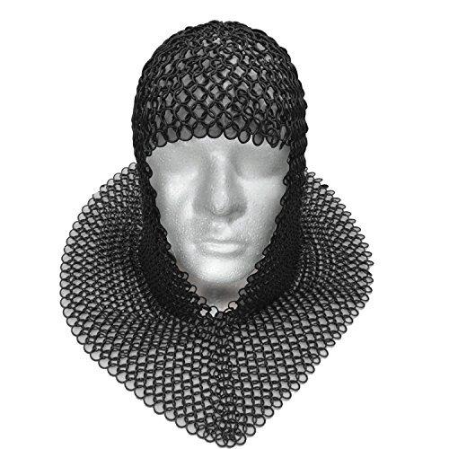 (Full Size Adult Blackened Chain Mail Coif Medieval Renaissance Hauberk)