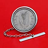 1968 Irish Ireland 3 Pence Coin Silver Plated Tie Tac Tack Pin NEW -Harp