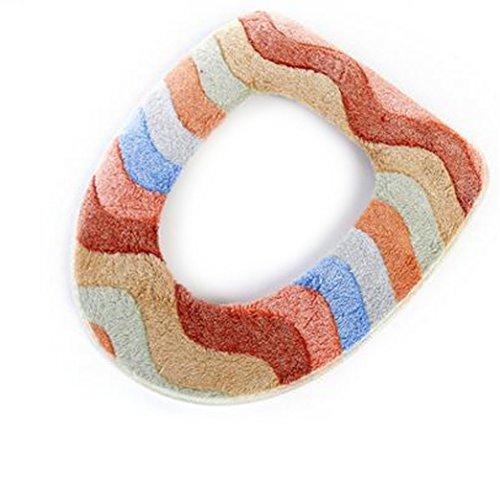 Light Brown Multicolor Coral Velvet Toilet Seat Cushion Stic
