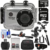 Vivitar DVR786HD 1080p HD Waterproof Action Video Camera Camcorder (Silver) with Remote, Helmet, Bike, Suction Cup & Dashboard Mounts + 32GB Card + Case + Kit