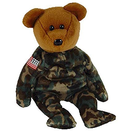 TY Beanie Baby - HERO the USO Military Bear (w/ US Reversed Flag on Arm) by  Ty