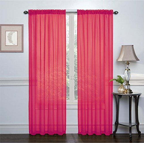 "HLC.ME Hot Pink 2-Pack 108"" inch x 84"" inch Window Curtain S"