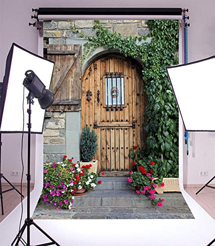 SZZWY 3x5ft Vinyl Photography Backdrop Spring Front Door Rustic Stripes Wood Plank Green Leaves Vine Fresh Flowers Weathered Brick Wall Nature Photo Background Children Baby Portraits Backdrop