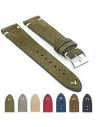 StrapsCo st15 Suede Vintage Style Watch Strap w/ Minimal Stitching in Green 22mm