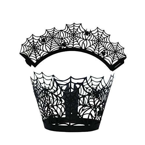 Halloween - 12pcs Set Halloween Cake Around Party Cupcakes Wrappers Hollow Paper Cups Spider Web Pumpkin Horror - Paper Icing Computers Cake Happy Beginners Russian Couplers Large Letters -