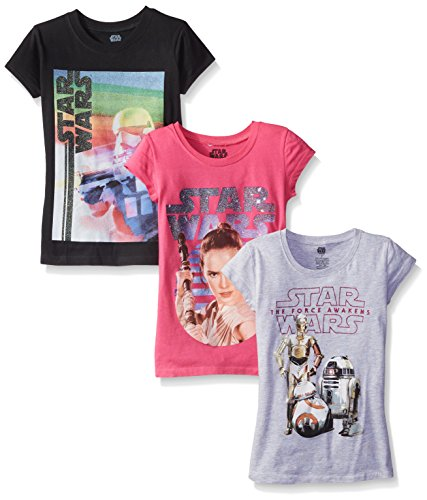 Star Wars Big Girls' The Force Awakens Episode 7 Graphic T-Shirt, Assorted, 5/6 (Pack Of 3)