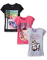 STAR WARS Girls' 3-Pack T-Shirts (Force Awakens and Classic)