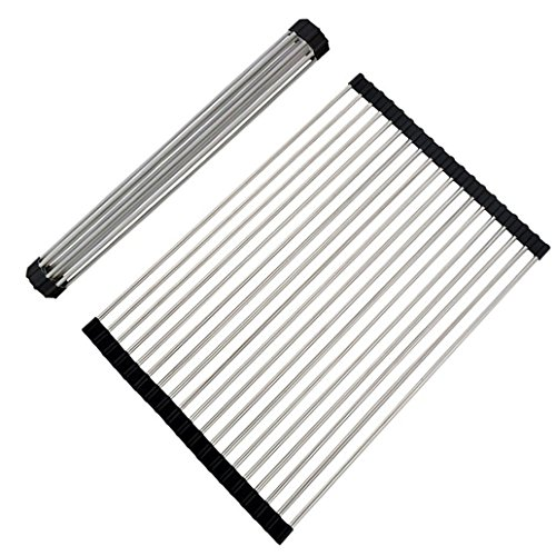 Stainless Steel Folding Black Roll Up Dish Drying Rack