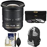 Nikon 10-24mm f/3.5-4.5 G DX AF-S ED Zoom-Nikkor Lens with Backpack + 3 UV/ND8/CPL Filters + Kit for D3200, D3300, D5300, D5500, D7100, D7200 Cameras