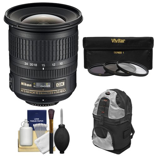 Nikon 10-24mm f/3.5-4.5 G DX AF-S ED Zoom-Nikkor Lens with Backpack + 3 UV/ND8/CPL Filters + Kit for D3200, D3300, D5300, D5500, D7100, D7200 Cameras
