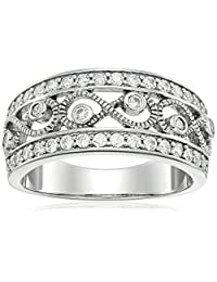 Sterling Silver Swarovski Zirconia Filigree Ring, Size 7