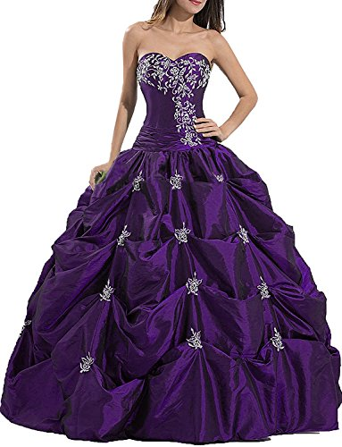 Indiefit Women'Sweetheart Taffeta Pleated Embroidered Prom Dress Quinceanera Gown Purple 4 Embroidered Taffeta Evening Gown