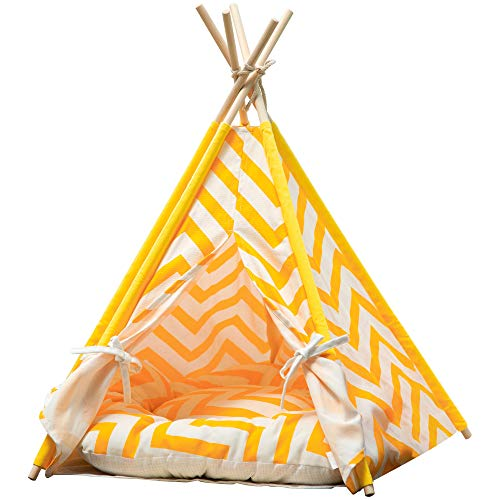 Samincom Pet Cat Dog Teepee with Cushion, 4-Sided House Indian Tents, Wood Canvas Tipi Fold Away Pet Tent Small Animals…