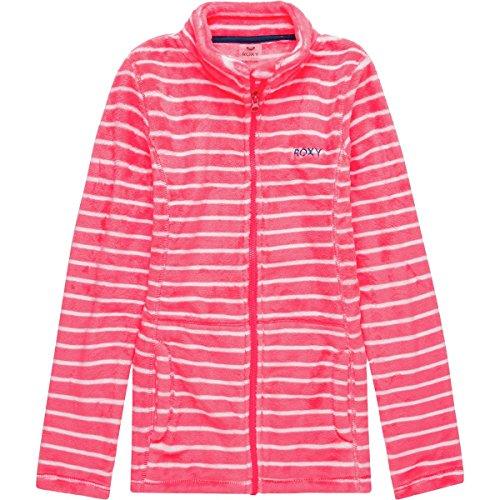 - Roxy Big Igloo Girl Polar Fleece Full Zip Jacket, Neon Grapefruit_Teddy Stripe 14/XL