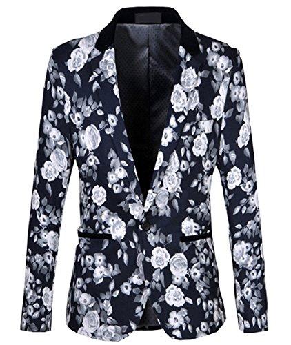 Ouye Uomo Blazer Elegante Blu Casual Giacche