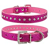 LOVELY Pink Color 1 Row Rhinestone Dog Collar Diamante Crystal Pet Cat Kitten Collars Pu Leather Rose M