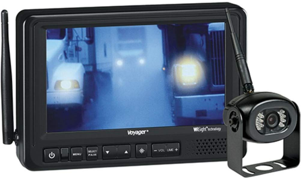 Voyager WVOS713 Digital Wireless Observation System Waterproof Real Color Camera WiSight Wireless Observation Technology 12V Accessory Plug Removable Sun Visor 7 Color LCD Monitor