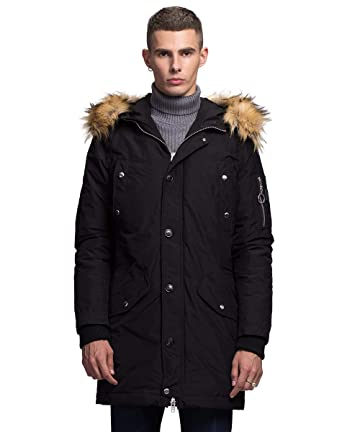 6321a3ae96d1 Image Unavailable. Image not available for. Color  ROCK AND BLUE Men s  Heavy Duty Down Parka Coat with Removable Faux Fur Hood ...