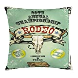 Ambesonne Western Throw Pillow Cushion Cover, Retro Style Rodeo Championship Poster Bull Skull Large Horns with Banner Grungy, Decorative Square Accent Pillow Case, 18 X 18 Inches, Multicolor