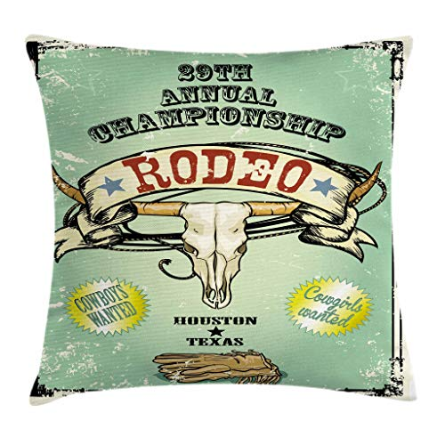 Ambesonne Western Throw Pillow Cushion Cover, Retro Style Rodeo Championship Poster Bull Skull Large Horns with Banner Grungy, Decorative Square Accent Pillow Case, 20 X 20 Inches, Multicolor