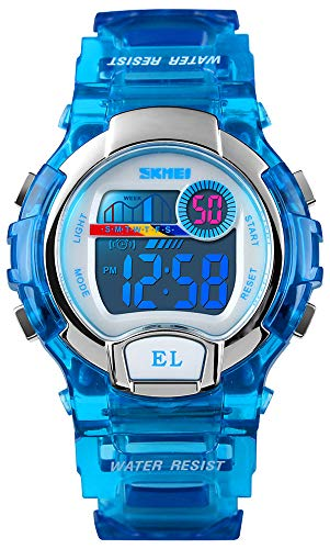 Kids Sports Digital Watches Boys Girls Transpatent Outdoor 50M Waterproof Colorful LED Lights Wrist Watch (Blue)