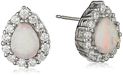 Sterling Silver Created Opal and Cubic Zirconia Halo Teardrop Stud Earrings