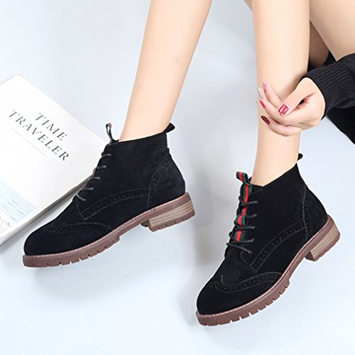 Martin Bloc Inconnu Botte Automne Brogue Hiver Talon Chaussures Rond Bout Demi Noir Femmes Rétro de Classique Suédé Lacets 35 Bottes Pq8qwZ