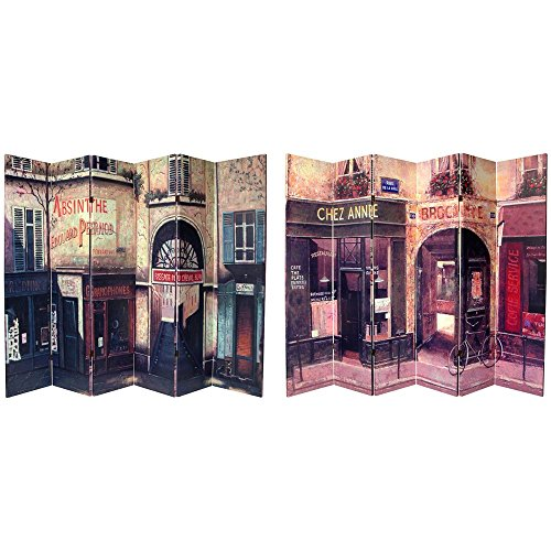 Oriental Furniture 6 ft. Tall Double Sided French Cafe Canvas Room Divider 6 - Canvas Furniture