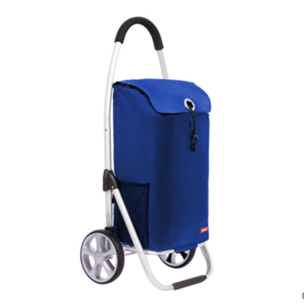 NAN 高品質のアルミニウムショッピングカートショッピングカート階段のベビーカーポータブルベビーカー折り畳みカート100 * 35.5 * 46センチメートル トレーラー (色 : 青) B07DZFDKJ1 青 青