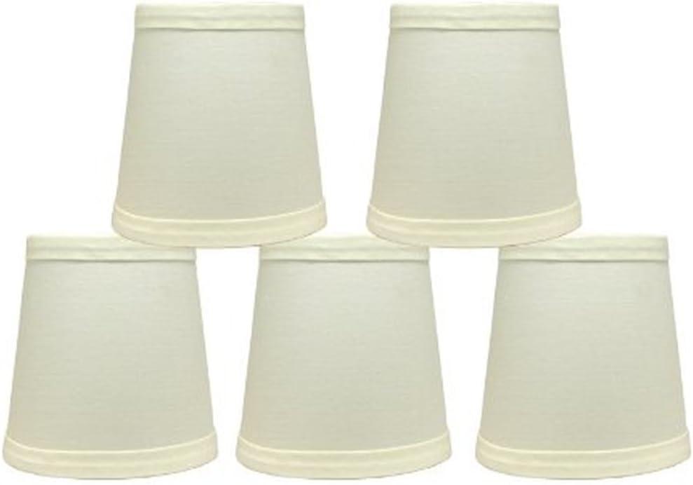 Urbanest Cotton Chandelier Lamp Shades, 4-inch, Hardback,Eggshell, Clip On Set of 5