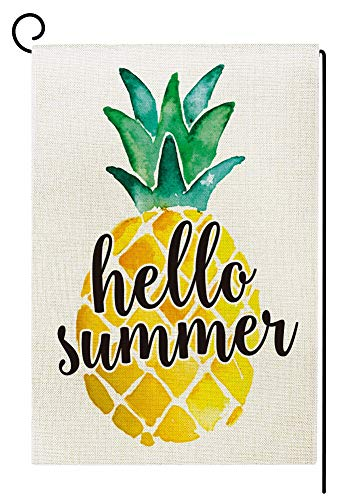 Agantree Art Hello Summer Pineapple Garden Flag Waterproof Double Sided Yard Outdoor Decorative 12 x 18 Inch