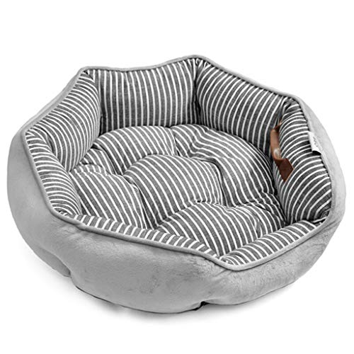 - XMSG Soft Dog Bed, Cozy Cat Bed House Fluffy Round Indoor Kennel Cushion Lounge Sofa with Non-Slip Bottom for Medium/Small Dogs and Cats, Gray Stripe,S