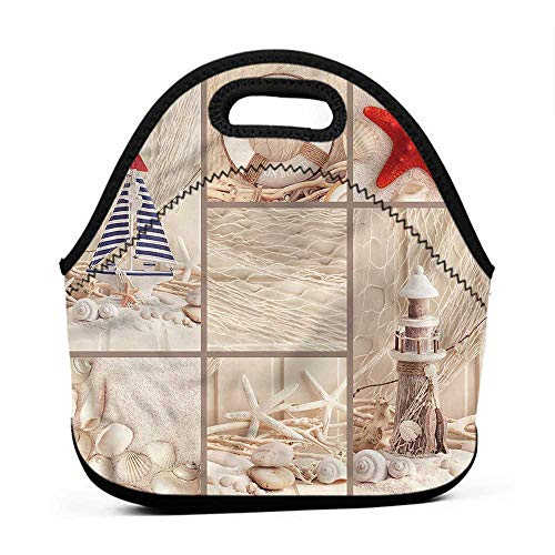 Large Size Reusable Lunch Handbag Nautical,Marine Sail Boat Collage,glass lunch bag for men