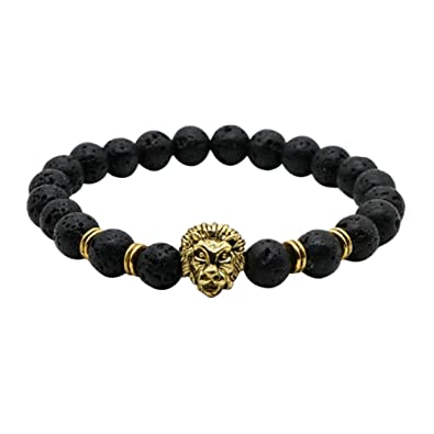 b0ef1f6bea47 IzuBizu London Mens 18 CT Gold Plated Black Gold Colour Round Lion Lava  Stone Bead Bracelet Luxury Gift Box  Amazon.co.uk  Jewellery