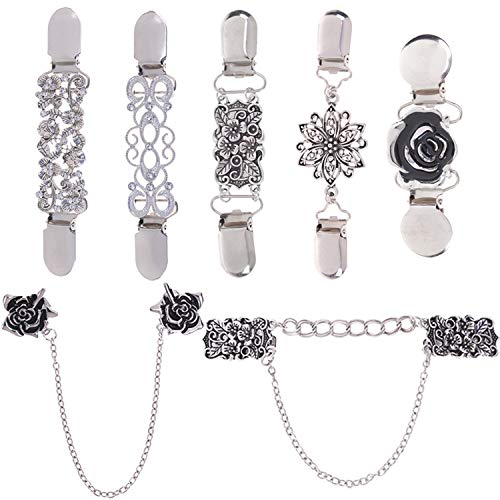 (LOCOLO Vintage Sweater Shawl Clips Cardigan Collar Clips Flowers Patterns for Women Girls (7) Silver)