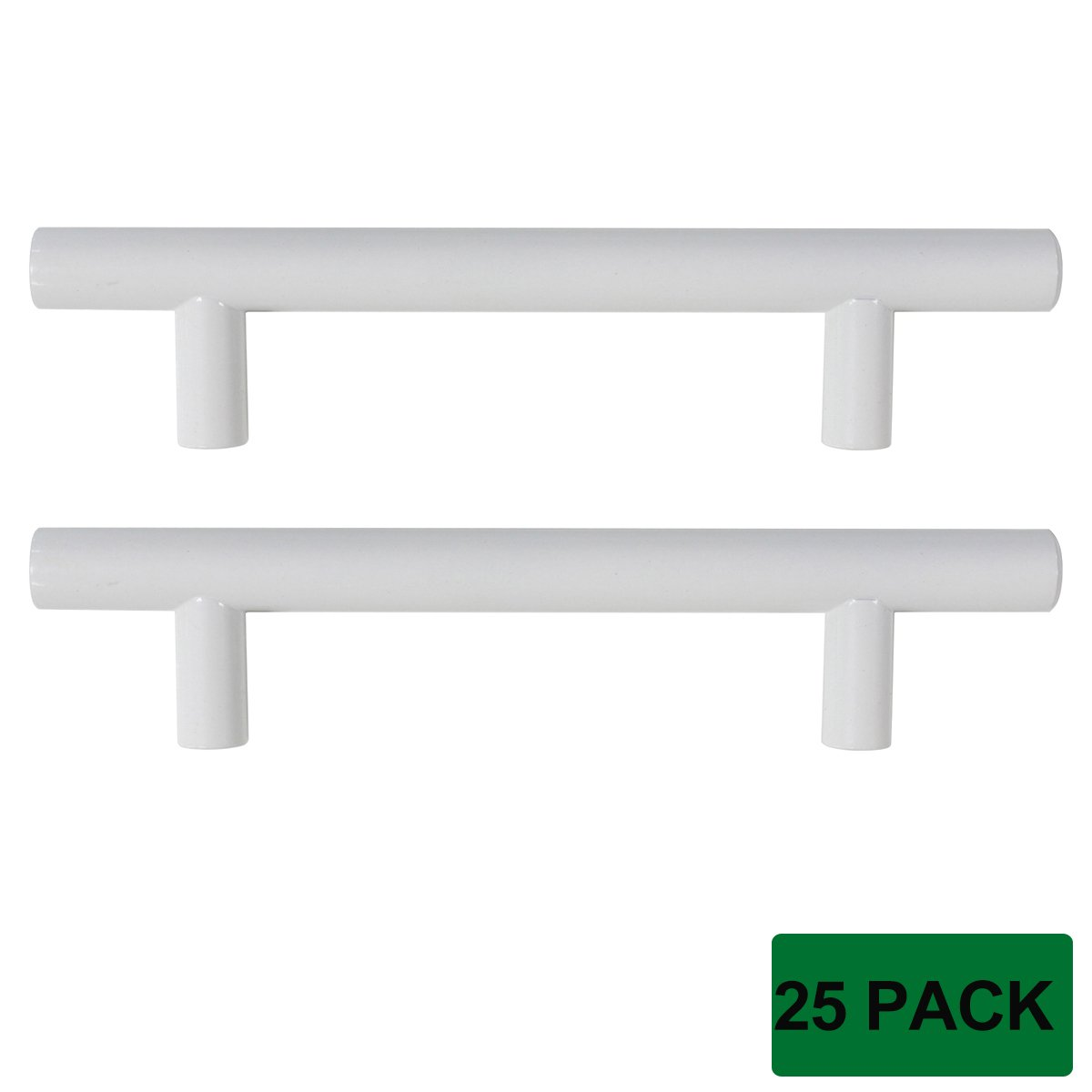 """Probrico Modern Kitchen Handle Pull Cabinet Drawer T Bar Knobs and Pull Handles White - 3-3/4"""" Hole Centers - 25 Pack"""