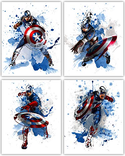 Captain America Wall Decor Collection - The First Avenger in our Wall Art Movie Poster Print Series - Set of 4 8x10 Photos