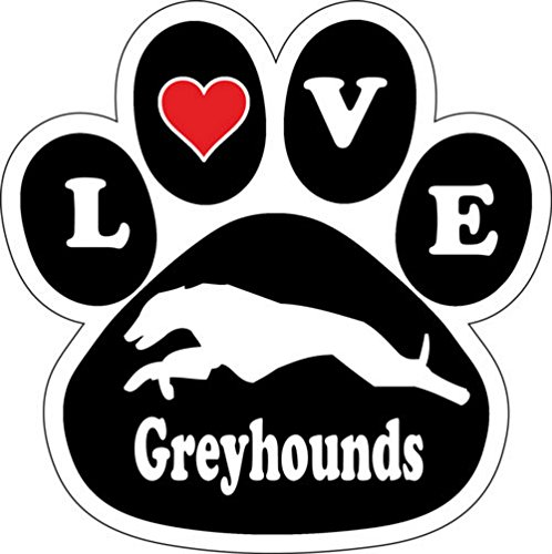 Love Greyhounds Dog Breed Paw Print Car Magnet 5 1/2