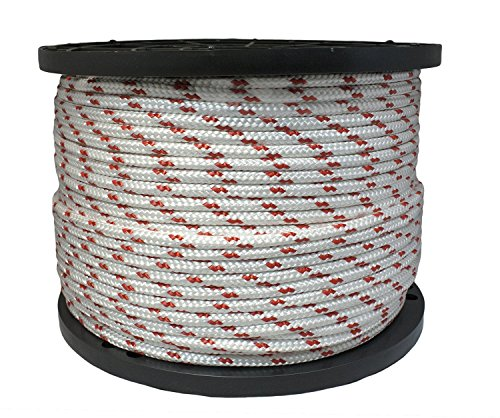 3/8 in X 50 ft White w/Red Polyester Double Braided Rope
