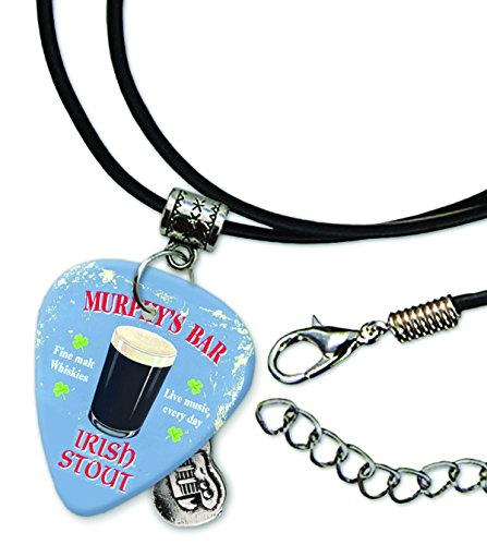 Murphys Bar Irish Stout Guitar Pick Leather Cord Necklace (MW) -