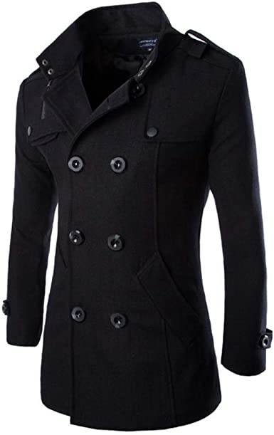 Chouyatou Mens Winter Stylish Wool Blend Single Breasted Military Peacoat