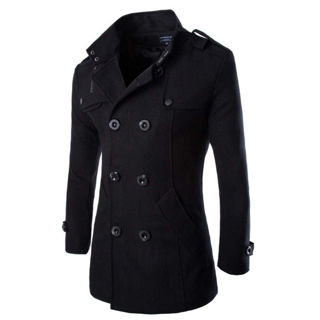 Amazon.com: SIMANLI Double Breasted Pea Coat, Trench Coat Fleece Jacket Overcoat Outwear for Men Boys (Black,Large): Clothing